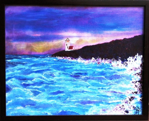 "CAPE BRETON LIGHTHOUSE Oil on Canvas 20x16"" FOR SALE $200"
