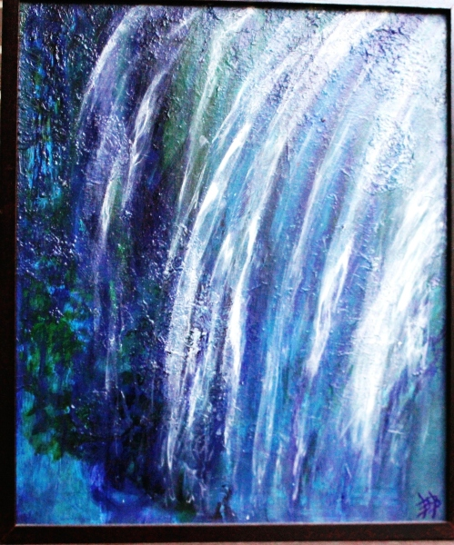 "The Waterfall, Acrylic & Oil on Canvas, 20"" x 24"", Dark Wood Framed, FOR SALE $200"