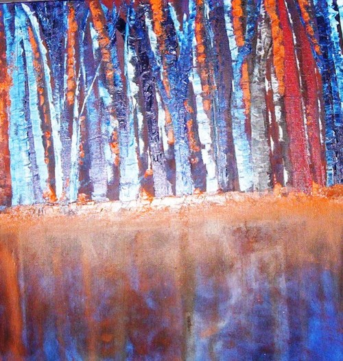 Trees Reflection Oil on Canvas - 16x20