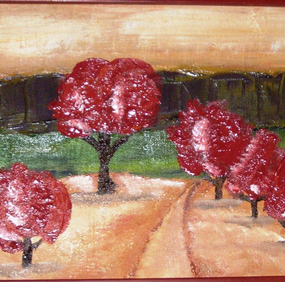 CHERRY TREES Oil on Canvas 8x12""