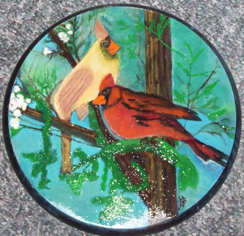 Cardinals - Oil on Plaque Shellac