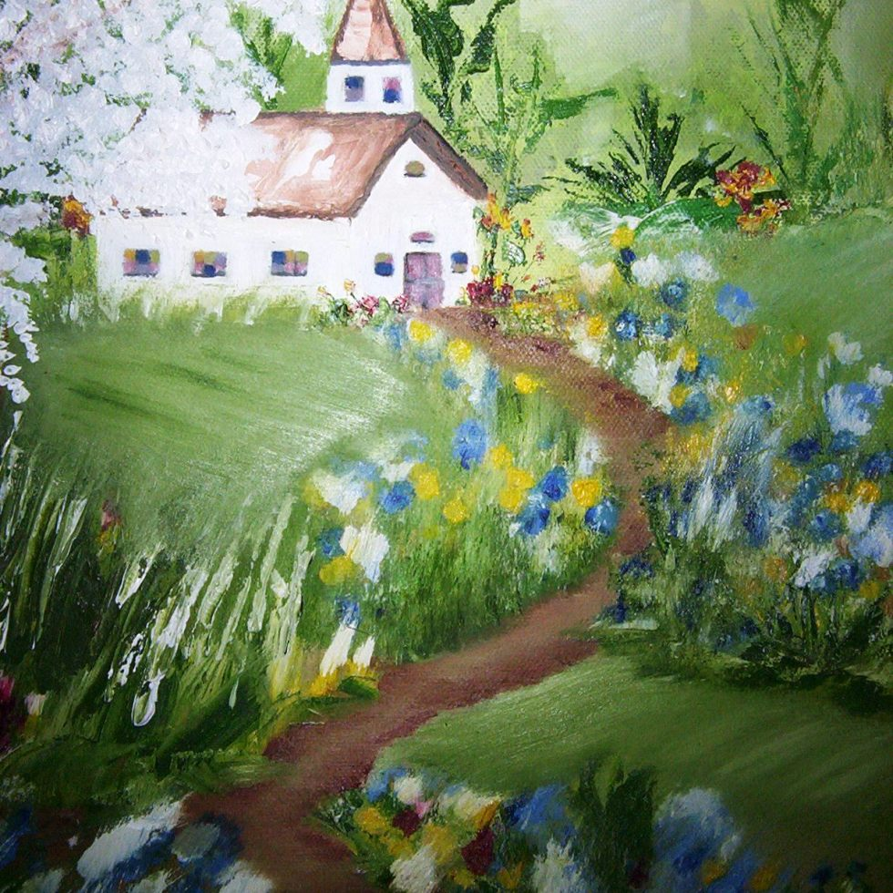 CHURCH COUNTRYSIDE Oil on Canvas 16x20