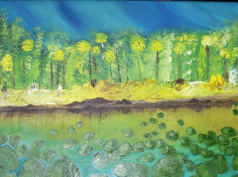 """CARIBBEAN LILLY PADS Oil on Canvas 16x20"""""""