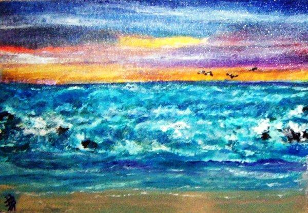 Beach - Acrylic on Panel - 16 x 20 - Beverlee Busch