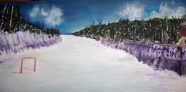 """MUSKOKA HOCKEY Oil on Canvas 48x32"""""""