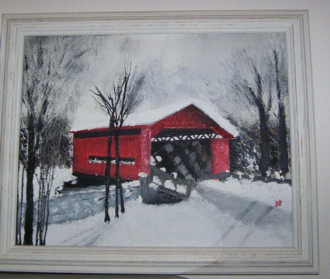 The Red Bridge - Framed - Beverlee Busch