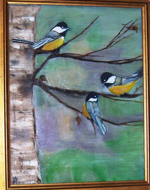 Chickadees in a Tree - Oil on Canvas 14x20""