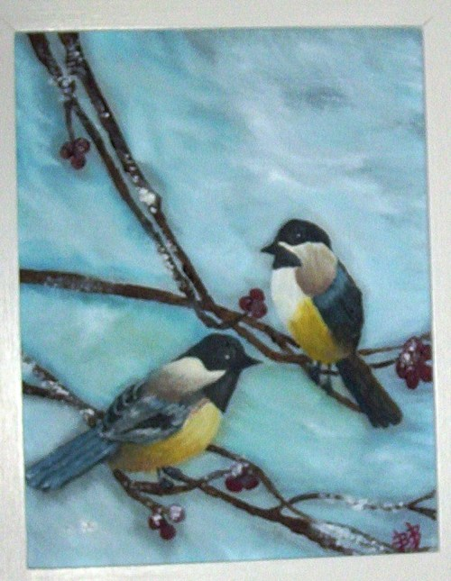 CHICKADEES Oil on Canvas 8x12""