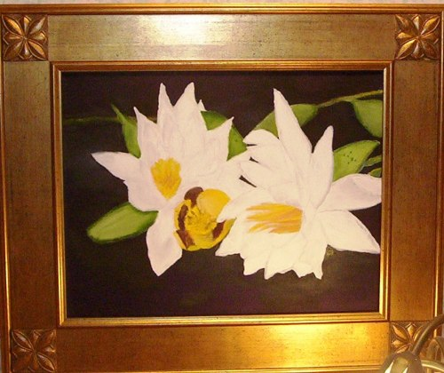 """LILY PADS FRAMED Oil on Canvas 12x14"""""""