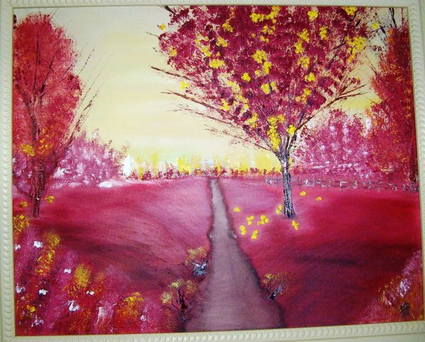 """RED TREES Oil on Canvas 16x20"""""""