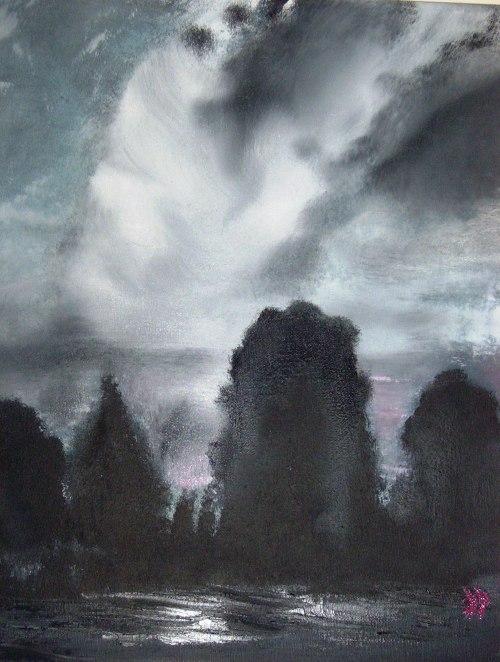 "STORMY SKY - Oil on Canvas 16x20"""