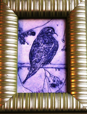 "PURPLE BIRD BATH, 4""x6"" Original Print, 1.5""Lime Green Framed, FOR SALE $35"