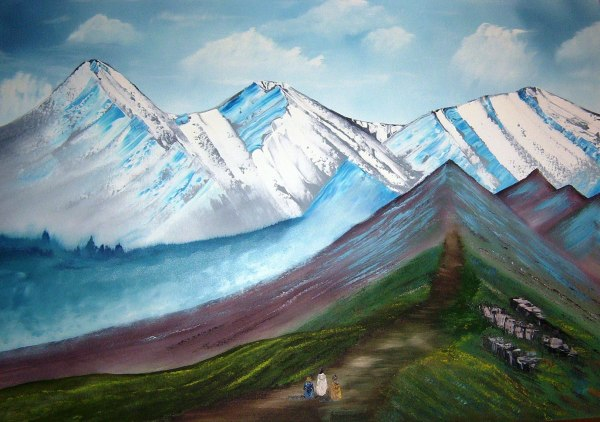 JESUS ON THE MOUNTAIN Oil on Canvas 30x40""
