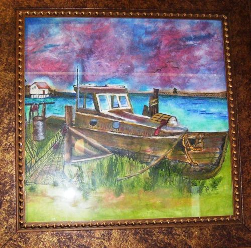 "SHIPWRECK PEN INK & OIL ROUGE 16x20"""