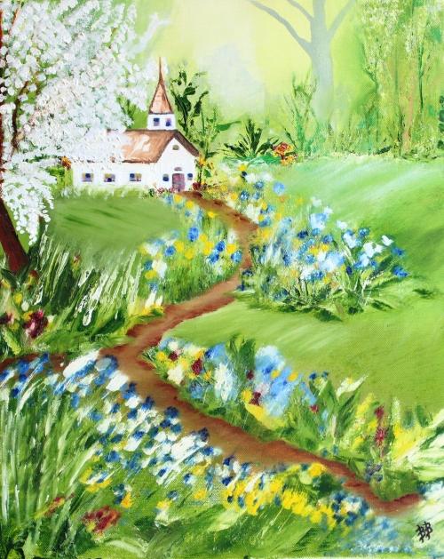 "Church on a Hillside, Oil on Canvas, 16"" x 20"", Unframed, FOR SALE $165"