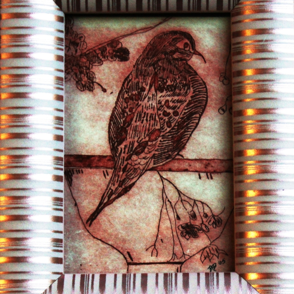 "FUCHSIA BIRD BATH, 4""x6"" Original Print, 1.5""Pink Framed, FOR SALE $35"