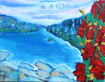 """Indian Summer, Oil on Canvas, 13.5"""" x 7.5"""" x 1.5"""", Unframed, FOR SALE $50"""