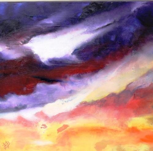 "Kingston Sunset, Oil on Canvas, 25"" x 24"" x 2"", Unframed, FOR SALE $200"